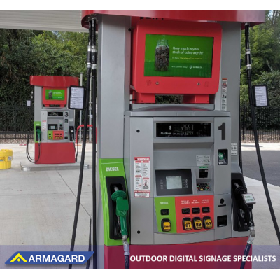 Armagard's Digital pump topper in use on a petrol station forecourt. See it at integrated systems europe 2020.