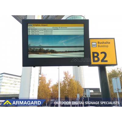 Armagard's famous LCD enclosure, here seen at a bus stop, will be shown at ISE Amsterdam.