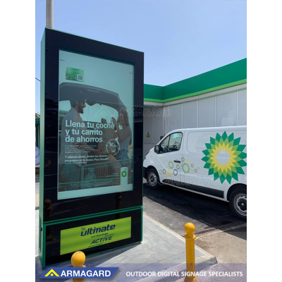High-bright screen enclosure in use in a petrol station. See it in action at ISE Amsterdam.