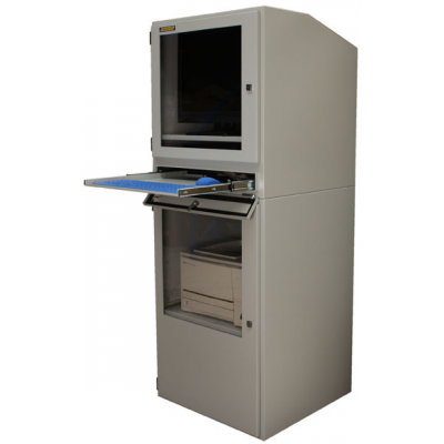 Industrial computer cabinets with keyboard tray