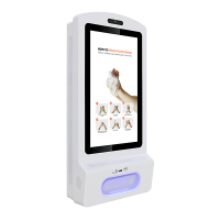 Hand sanitiser digital display right-facing front view.
