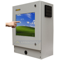Compact Touchscreen Enclosure open being used