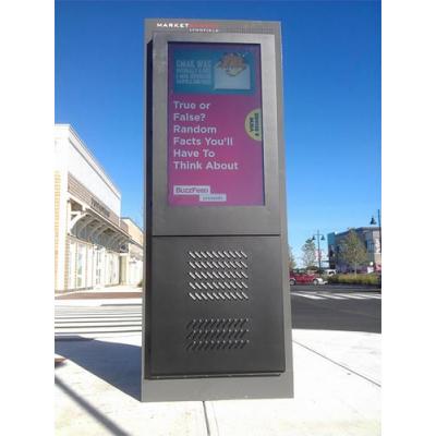 Outdoor LCD TV enclosures in use as digital advertising.