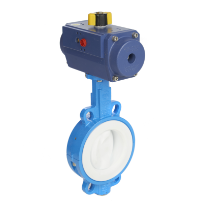 blue butterfly valve with actuator