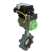 green butterfly valve with actuator