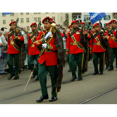 A modern marching band benefits from the rich history of military bagpipes