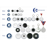 Badges, mirrors, keyrings and medals made from an Enterprise products badge making kit.