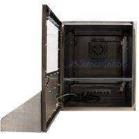 impermeable vista frontal de la carcasa PC con la puerta abierta