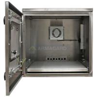 vista frontal de la impresora protección IP65 con puerta abierta
