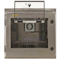 vista frontal de la impresora protección IP65 con solapa abierta la impresora
