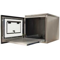 IP65 vista lateral de protección de la impresora con la puerta abierta y extendida bandeja