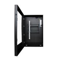 Retrato vista frontal de panel plano del recinto de la caja con la puerta abierta