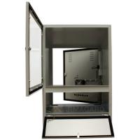 recinto de la vista frontal del ordenador con las puertas abiertas