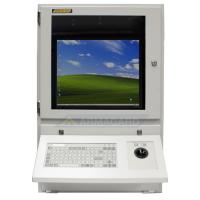 armario para ordenador con un teclado trackball