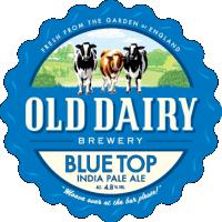 top bleu par ancienne brasserie laitière, distributeur de bière blonde britannique