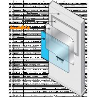 एक आरेख दिखाता है कि एक इंटरेक्टिव टच फोइल डिस्प्ले को कैसे इकट्ठा करना है
