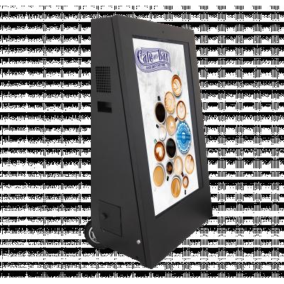 मोबाइल डिजिटल साइनेज राइट-साइड साइड व्यू को प्रदर्शित करता है।