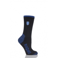 Kaus kaki Blueguard bekerja dalam warna hitam dan biru