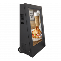 The battery-operated digital signage unit is easy to move into the ideal location for your business.