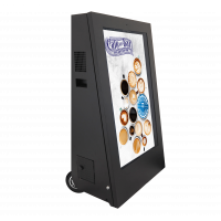 Signage digital seluler menampilkan tampilan sisi yang menghadap ke kanan.