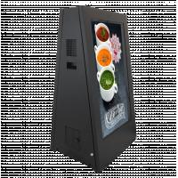 Segnaletica digitale esterna alimentata a batteria vista laterale rivolta a destra.