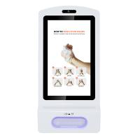 Vista frontale disinfettante per le mani con display digitale.