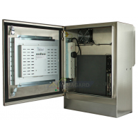 pintu skrin sentuh kalis air padat menunjukkan terbuka komputer dan skrin
