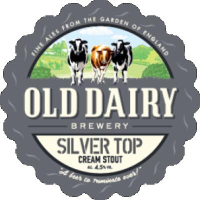 silver top: silver top av gamle meieri bryggeriet, britisk krem stout distributør