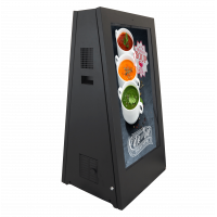 Utendørs batteridrevne digitale skilt mot høyre sidefra.