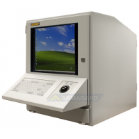 datamaskin kabinett med tastatur og trackerball