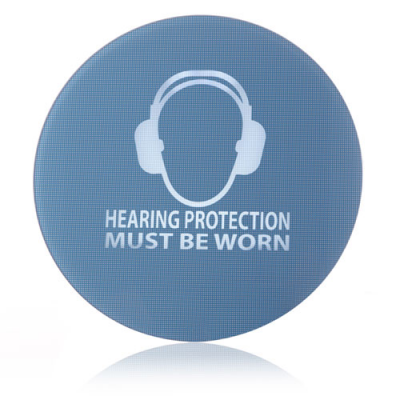 Znak ochrony słuchu dla fabryk i obiektów przemysłowych.