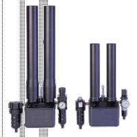 Purificador de dióxido de carbono mostrando colunas e filtros