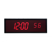 Visão frontal do relógio digital sincronizado ntp de seis dígitos BRG