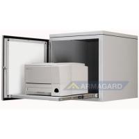 porta da frente gabinete de impressora aço suave aberto com impressora a laser na bandeja