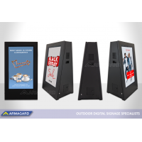 DigiStopper digital signage portátil em exposição no ISE 2020.