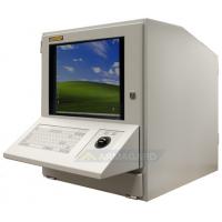 gabinete de computador com teclado e trackerball