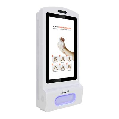 Desinfetante para as mãos, display digital, vista frontal voltada para a direita.