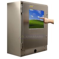 gabinete touchscreen impermeável mostrando a tela sensível ao toque que está sendo usado