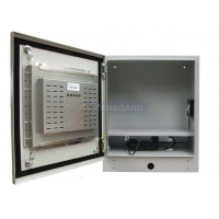 Cerco industrial da tela de toque com a porta aberta que mostra o écran sensível