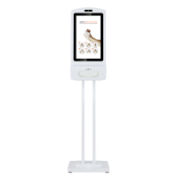 El dezenfektanı dijital ekran bir stand üzerine monte edilmiş.